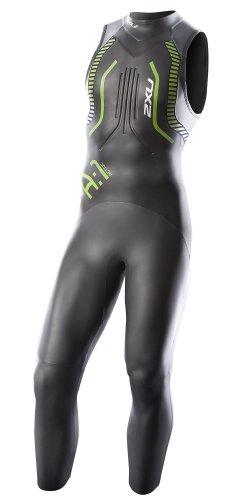 2XU Men's A:1S Active Sleeveless Triathlon Wetsuit,Black/Vibrant Green,Large - Wetsuit Triathlon Level Entry