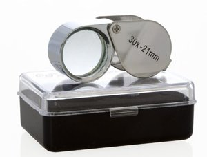 CostMad ® Jewellers Jewellery Pocket Loupe High Powered 30x / 30 x 21 mm Magnifier Magnifying Magnification Glass Eye Lens Pieces and free Case Chrome Finish for Map, Dictionary reading, Jeweller, etc (Chrome Map)