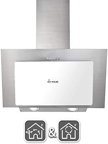 Campana extractora de pared (60 cm, acero inoxidable, cristal blanco, iluminación LED, 3 niveles, pulsadores) BASE604WED - KKT KOLBE: Amazon.es: Hogar
