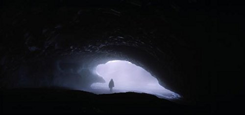 Iceland - Silhouette of a person standing in a cave 30x40 photo reprint by PickYourImage
