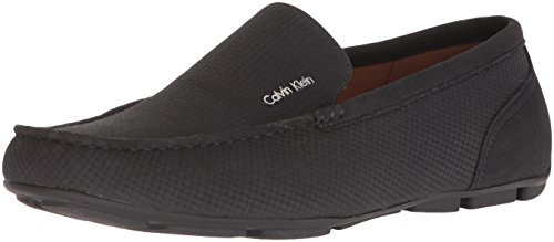 Calvin Klein Men's Manny Nubuck Smooth Driving Style Loafer, Black, 9.5 M M US by Calvin Klein