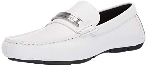 Calvin Klein Men's Kolton Loafer, White Hatched Embossed Leather, 10.5M M US