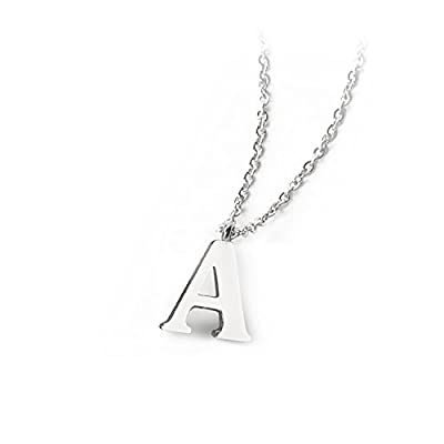 "PARTNER Stainless Steel Silver Initial Necklace Alphabet Pendant Necklace 16"" with 2"" extender Women Girl letter Necklace"