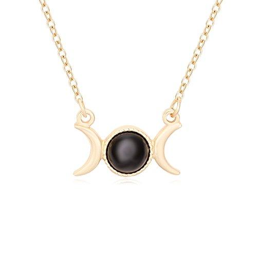 Triple Moon Goddess Symbol Semi-Precious Stones Pendant Necklace 18
