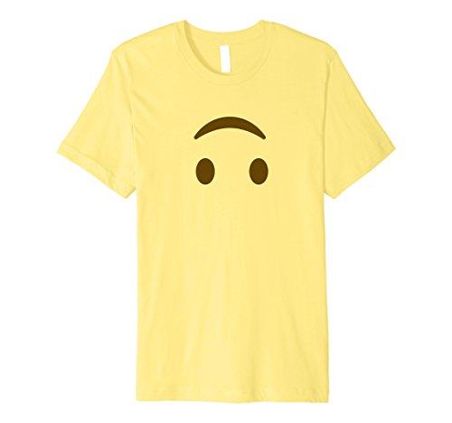Mens Happy Upside Down Emoji T-Shirt - Halloween Emoji Costume Sh Small Lemon