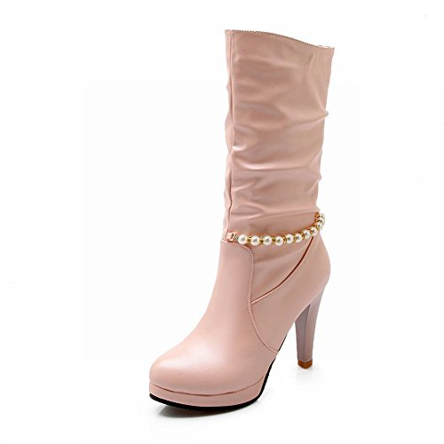 Latasa Womens Fashion Beaded Pleated Platform High Heel Mid-calf Boots Dress Boots Pink