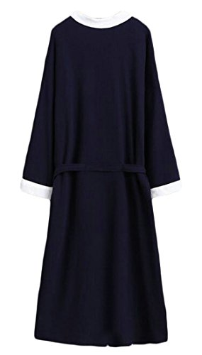 Cromoncent Mens Hotel Cotton Homewear Bathrobe Spa Waffle Kimono Comfort Robe Navy Blue2 Large by Cromoncent (Image #1)