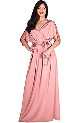KOH KOH Womens Long Semi-Formal Short Sleeve V-Neck Floor Length Maxi Dress Gown