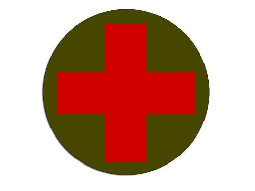 ROUND Combat Medic Cross Logo Sticker (red cross army green decal) -