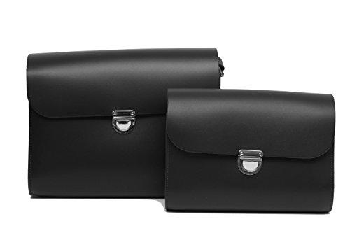 Negro de cuero real del bolso de la taleguilla de Crossbody con Cierre con corchetes y correa ajustable Un conjunto de embrague bolsas Negro - Peque–os y Grandes
