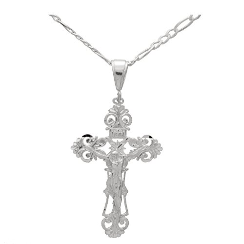 Sterling Silver 2 inches DC Cross Jesus Crucifix Pendant Necklace 24 inches Figaro Chain