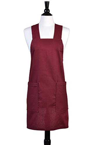 - Japanese Linen Crossback Apron - Bordeaux Deep Burgundy Womens Retro Crossover Pinafore - Vintage Style Kitchen Apron - Two Large Pockets - Personalized Option