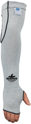 MCR Safety 9318D10T Memphis 10 Gauge Dyneema Sleeve with Thumb-Slot, Gray, 18-Inch ()