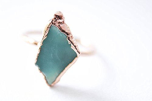 Chrysoprase Statement Ring Plated in Rose Gold- Size 5.5