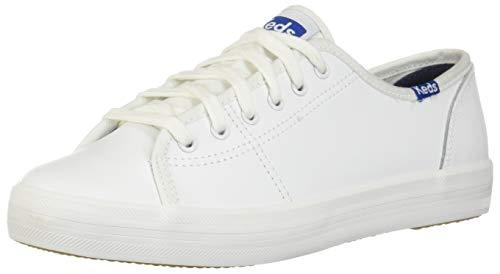 Keds Women's Kickstart Leather Fashion Sneaker,White/Blue,8 M US