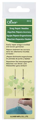 Clover 2512 Snag Repair Needles, Silver 2 Pack