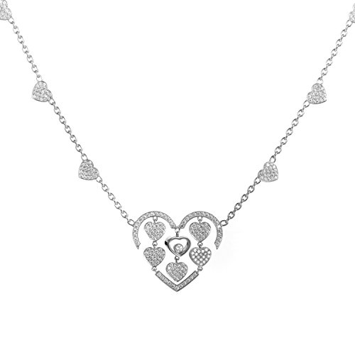 Chopard Happy Amore 18K White Gold Diamond Pave Multiple Hearts Pendant Necklace