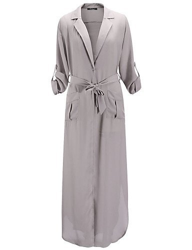 GSP-Damen Kleid - A-Linie / Lose / Swing Sexy / Retro / Party / Arbeit / Leger / Strand Solide Maxi Baumwolle / Polyester / Elasthan