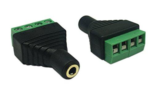 Cerrxian 3.5mm 4 Pole Female Stereo Audio Video to 4 Screw Terminal Female Headphone Balum Converter Adapter (2-Pack)