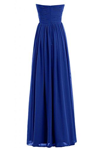 Sunvary romantico chiffon lunghezza intera senza spalline A-Line sera Prom abiti Royal Blue 48