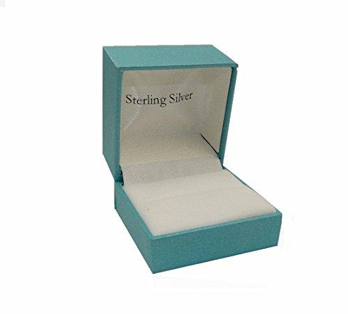 RING GIFT JEWELRY BOX-METALLIC BLUE WITH HINGE