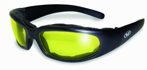 Global Vision Chicago Padded Riding Glasses (Black Frame/Yellow Lens) (Convertible Riding Glasses)