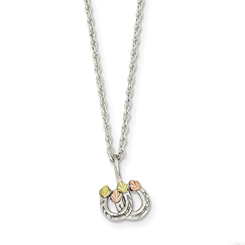 925 Sterling Silver 12k Leaves Double Horseshoe Chain Necklace Pendant Charm Good Luck/italian Horn Fine Jewelry For Women Gift Set from ICE CARATS