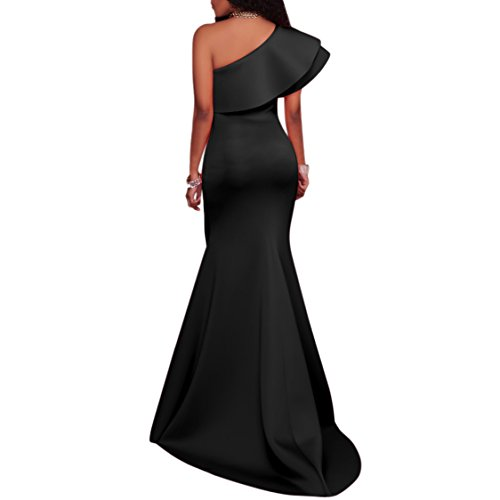 Charmore Womens One Shoulder Ruffle Bodycon Evening Party Maxi Dress
