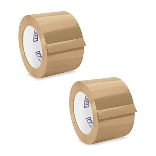 """ULINE Industrial Shipping & Packing Tape 3"""" x 110 Yards 2.0 Mil - Tan (2 Pack)"""