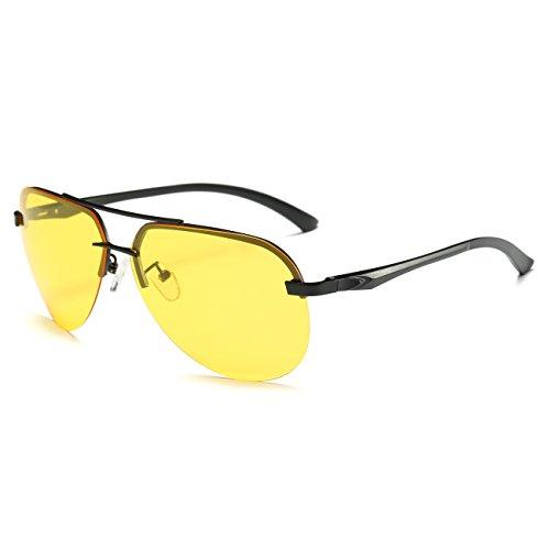 Protección UV JULI de Lente Amarillo gafas Negro Marco conducción Aviador Noche 400 sol Hombre de por polarizado La q8OqvFW