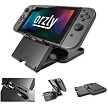 Orzly Play Stand Compatible with Nintendo Switch (with Air-Vent Access) Black Foldable Multi Angle Stand, Raised for Charging Port Access (While Playing in Tablet Stand Mode)