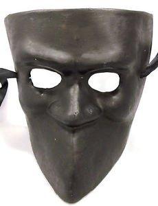Black Bauta Venetian Mardi Gras Men Masquerade Square Mask Paper Mache by Party Supplies ()