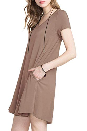 TINYHI Women's Casual V-Neck Plain Fit Simple Pocket T-Shirt Loose Swing Dress