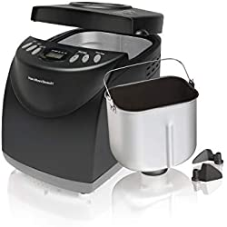 Hamilton Beach 2 lb Digital Bread Maker, Programmable, 12 Settings + Gluten Free, Dishwasher Safe Pan + 2 Kneading Paddles, Black (29882)