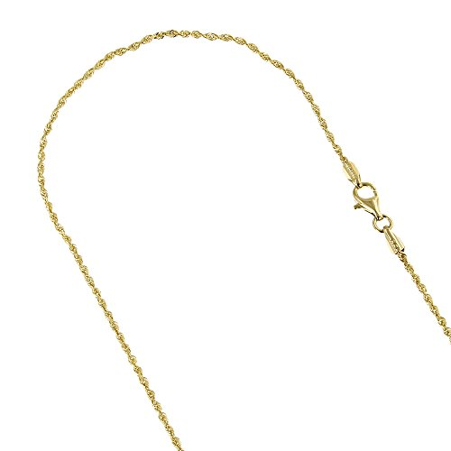 IcedTime Solid 14K Yellow Gold 1.5mm Wide Rope Chain Diamond Cut Anklet with Lobster Clasp 10'' long by IcedTime (Image #1)