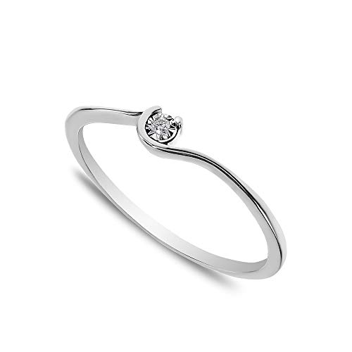 Buy Jewels 14k Solid Gold Minimalist Dainty Promise Stacking Ring for Women with Natural Diamond in Miracle Plate (White-Gold, 3.5)