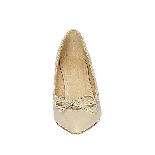 Slip Heel Pointy On 17 Womens Patent Closed Low Toe Classic Dress Pump Shoes Beige Kitten Guilty UvAqgg