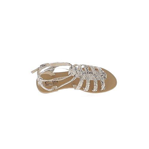 Sandales spartiates snake serpent aspect cuir brillant avec 6 fines brides