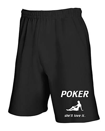 T It Nero shirtshock Pantaloncini She'll Poker Tuta Love Fun2970 qq4RFwgU