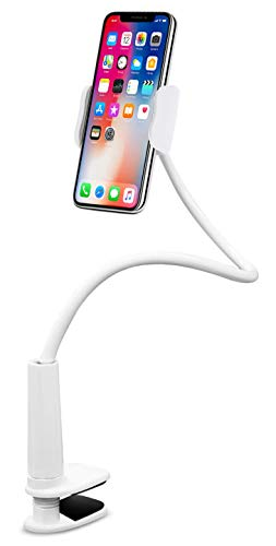 Aduro Solid-Grip Phone Holder for Desk - Adjustable Universal Gooseneck Smartphone Stand, with Durable Mount (White)