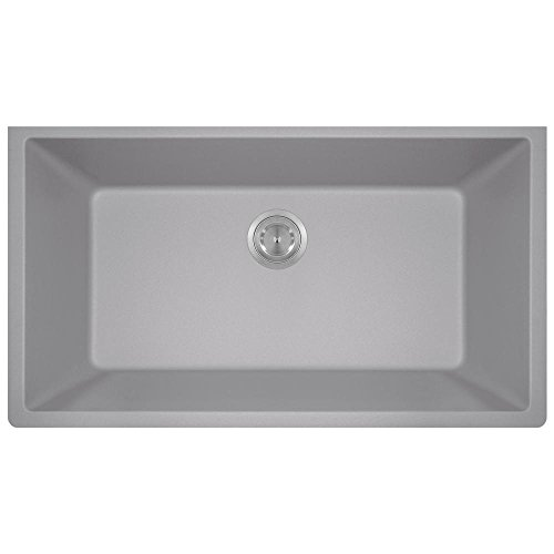 (848 Large Single Bowl Quartz Kitchen Sink, Silver, No Additional Accessories)