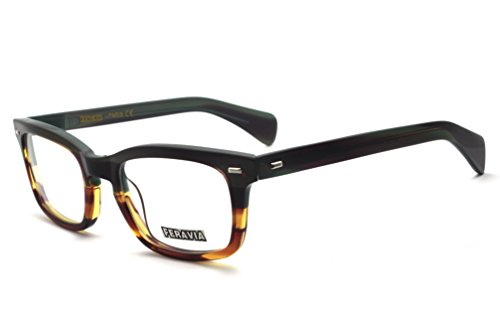 Men Eyeglasses Strong Look Bold Rectangular Clear Lens Two Toned Acetate Forest Green - Eyeglasses Strong