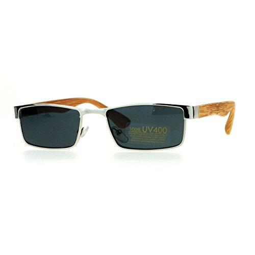 Small Size Sunglasses Unisex Fashion Rectangular Silver, Medium Wood Print - Small Sunglasses Size