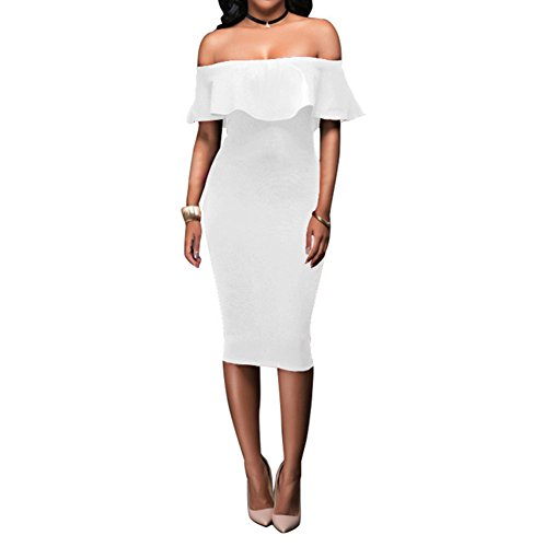 (Women's Off Shoulder Ruffles Back Split Slim Stretch Cocktail Party Bodycon Midi Dress S White)