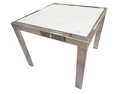 Mesa Comedor 90x90 Extensible 180x90 Cromo Tapas De Cristal
