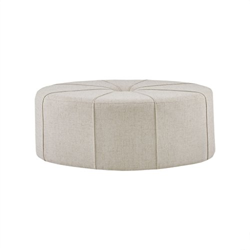Madison Park MP101-0712 Ferris Coffee Table Oval - Solid Wood, Polyester Fabric Large Cocktail Ottoman Modern Style, Button Tufted Center, Sun Flower, 48.5