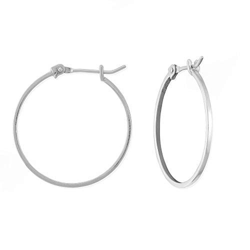 (Boma Jewelry Sterling Silver 1 Inch Classic Snap Down Closure Hoop Earrings)