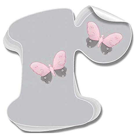 Amazon.com: pared letras gris gris mariposa, color rosa ...