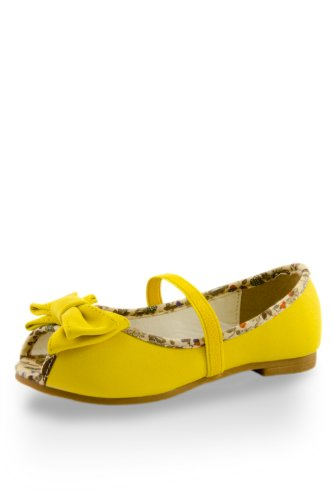 Toddler Girls' Floral Printed Foot Bed Flats Yellow 6