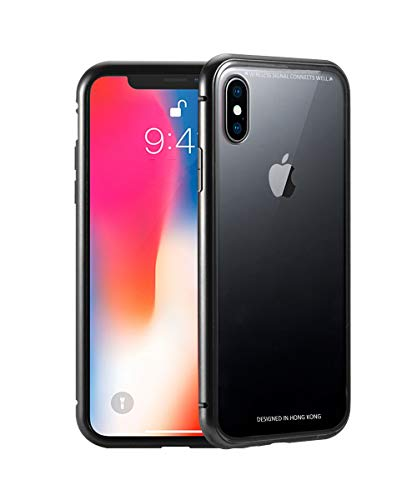 JoAo Magnet Case for iPhone x, Ultra Thin Slim Fit Cover Case[Built-in Screen Protector][Crystal Black]